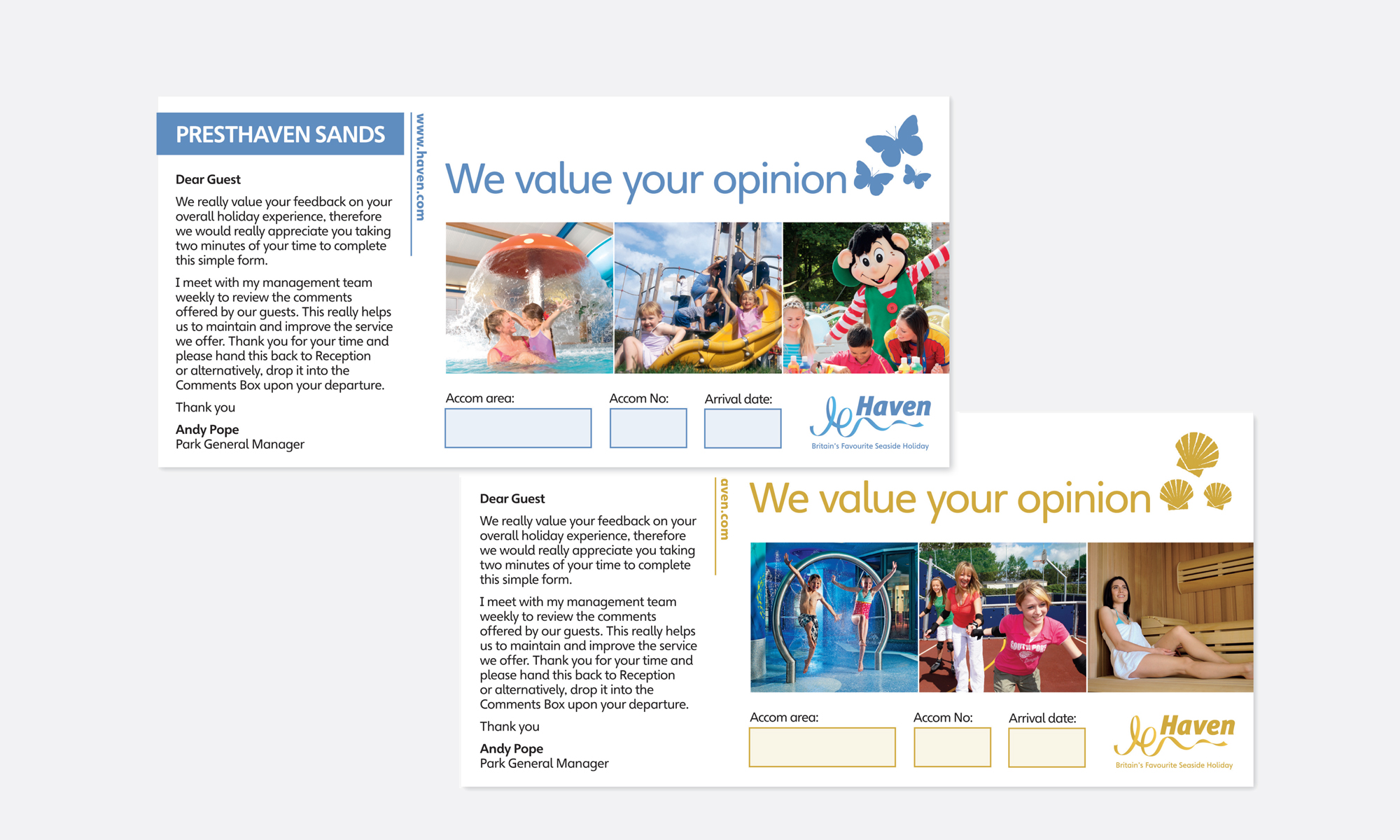 Haven Holidays Questionaire